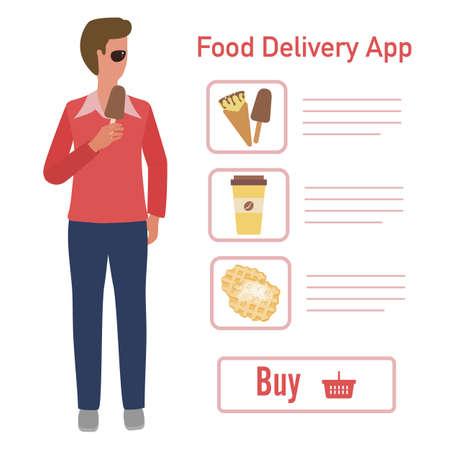 Vector illustration Online food, drink ordering app. Safe delivery. Fast courier service. Take away lunch home delivered. Menu mock up. E-commerce concept. Design for app, webpage, banner, print Ilustração
