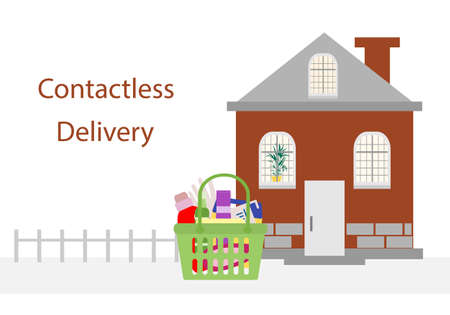 Vector illustration Contactless delivery. Bag with household supplies left at entrance to house. Coronavirus COVID-19 Quarantine Order Transfer. Virus protection, infection prevention Control Epidemic