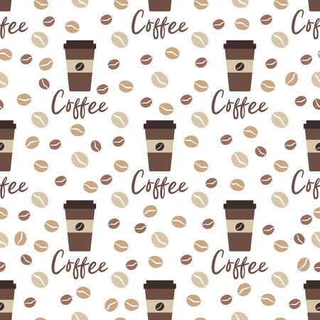Vector coffee seamless pattern Illustration Repeated background with paper coffee cups. Morning. Take away. Concept for cafe, bistro, bars menu card. Food and drink design for wrapping, textile, print Ilustração