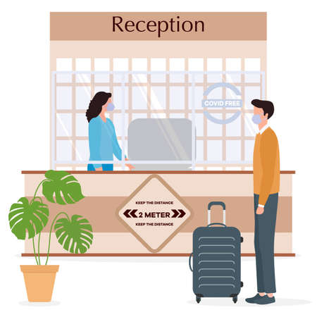 Vector illustration Reopening of Hotel hostel guesthouse lobby after COVID-19 quarantine. Person with suitcase stands at hotel reception, receptionist makes check in hotel room. COVID free New normal