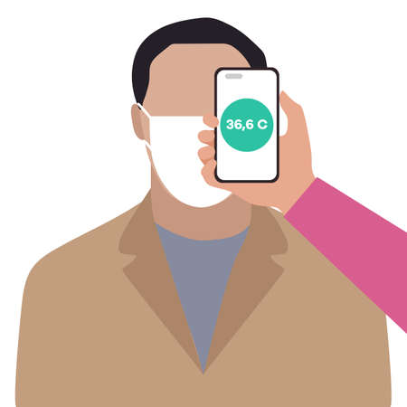 Vector illustration Phone placed on forehead of person remotely measures temperature. New technology. New normal. Measurement of human body temperature at a distance. Health, medicine Design for print Ilustração