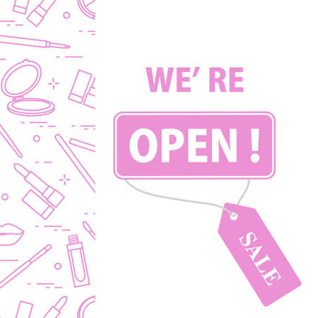 illustration Reopening of cosmetics store, beauty shop after COVID-19 quarantine coronavirus pandemic Sign We're open Tag Sale Purchase Discount Decorative cosmetics, makeup Shopping background 일러스트