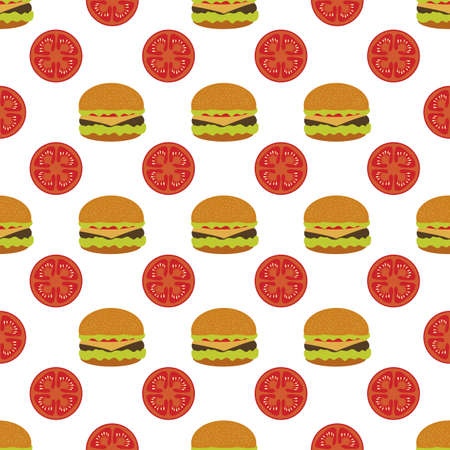 seamless pattern Illustration burger. Street lunch American Takeaway Fast food. Delicious sandwich. Concept for cafe, bistro, burgers restaurant menu card. Junk food. Design for wrapping, print