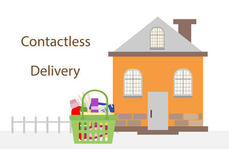 illustration Contactless delivery. Bag with household supplies left at entrance to house. Coronavirus COVID-19 Quarantine Order Transfer. Virus protection, infection prevention Control Epidemic Illusztráció