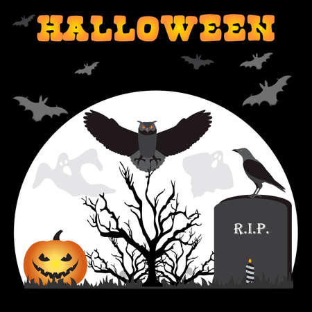 Halloween Party illustration Full moon, bat, tree, owl, raven, candle, grave, ghosts, Jack O'Lantern. Inscription Halloween. Festive background. Design for party card, print