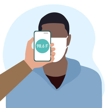 Vector illustration Phone placed on forehead of person remotely measures temperature. New technology. New normal. Measurement of human body temperature at a distance. Health, medicine Design for print 일러스트
