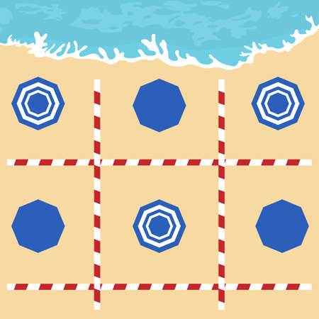 illustration Opening up beaches after COVID-19 quarantine, coronavirus pandemic. Umbrellas, places to relax at distance Social distancing. Summer Reducing risk of infection, prevention measures 일러스트