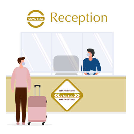 illustration Reopening of Hotel hostel guesthouse lobby after COVID-19 quarantine. Person with suitcase stands at hotel reception, receptionist makes check in hotel room. COVID free New normal