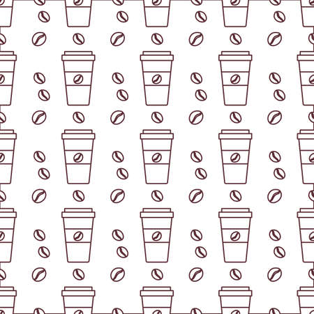 coffee seamless pattern Illustration Repeated background with paper coffee cups. Morning. Take away. Concept for cafe, bistro, bars menu card. Food and drink design for wrapping, textile, print
