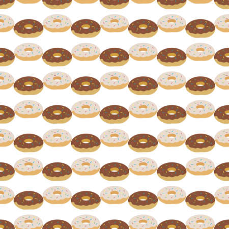 seamless pattern Illustration tasty doughnuts. Delicious sweet donuts with glaze and sprinkles Food concept for menu design, cafe decoration, delivery box Dessert, pastry Design for wrap, print