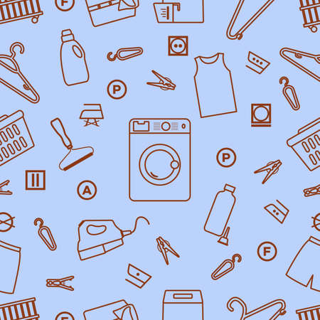 seamless pattern Illustration Dry cleaning, laundry, housekeeping services. Home appliance. Garment washing, launderette. Laundromat service equipment. Restart business in normal operation