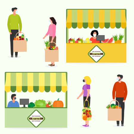 illustration People Social distancing Market Selling vegetables, fruits, berries keep social distance New normal concept and physical distancing New behavior after COVID-19 coronavirus pandemic