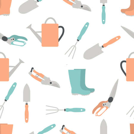 seamless pattern Illustration with gardening tools and rubber boots. Gardening. Garden equipment. Repeated background for wrapping, textile, poster, print or web Stock Illustratie