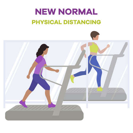 illustration Reopening of fitness center, sports clubs after coronavirus quarantine. People doing fitness on treadmills Keep social distance COVID free New normal Stay apart Physical distancing