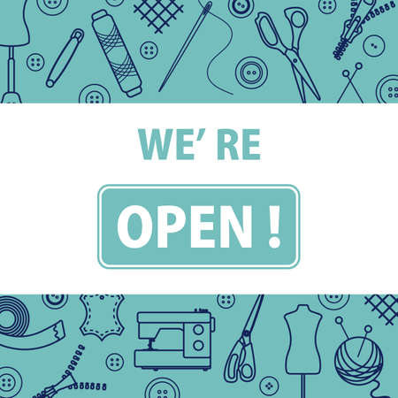 illustration Reopening of tailor's, fashion designer's, sewing workshop after COVID-19 quarantine coronavirus pandemic Open atelier tailoring, sewing atelier, dressmaking tools shop. We're open Stock Illustratie
