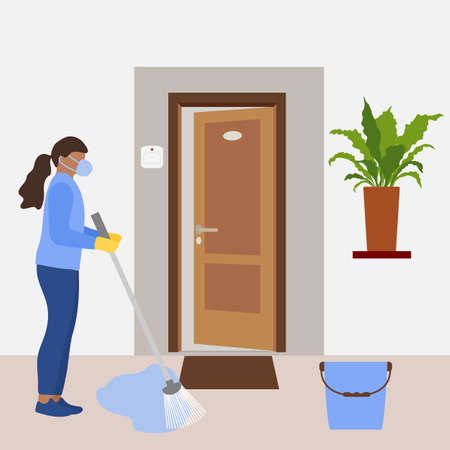 illustration Cleaning service disinfects hotel room from coronavirus, germs. Woman cleans room. Disinfection Washing. Housework. Infection prevention concept. Design for app, web, banner, print
