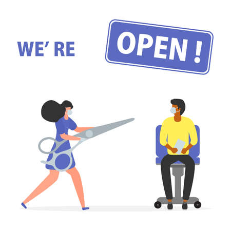 illustration Reopening of hairdressers, spa salon after COVID-19 quarantine, coronavirus pandemic Sign We're open Keep distance Social distancing Reducing risk of infection, prevention measures