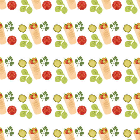 Vector seamless pattern Illustration Tortilla wraps with grilled chicken fillet and fresh vegetables. Street lunch. Takeaway food. Kebab. Concept for cafe, bistro menu card. Design for wrapping, print 일러스트