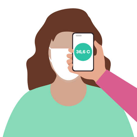 Vector illustration Phone placed on forehead of person remotely measures temperature. New technology. New normal. Measurement of human body temperature at a distance. Health, medicine Design for print Illusztráció