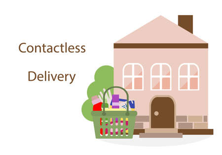 Vector illustration Contactless delivery. Bag with household supplies left at entrance to house. Coronavirus COVID-19 Quarantine Order Transfer. Virus protection, infection prevention Control Epidemic Ilustración de vector