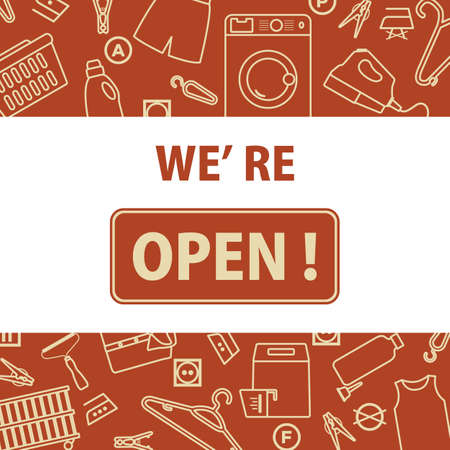 Vector illustration Reopening of dry cleaning, laundry after COVID-19 quarantine coronavirus pandemic. SignWe're open Restart business in normal operation after virus lockdown Design for banner, print 일러스트