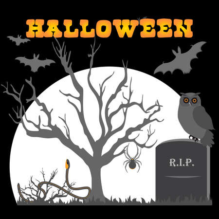 Halloween Party Vector illustration Full moon, bat, tree, owl, grave, snake, spider. Inscription Halloween. Festive background. Design for party card, print