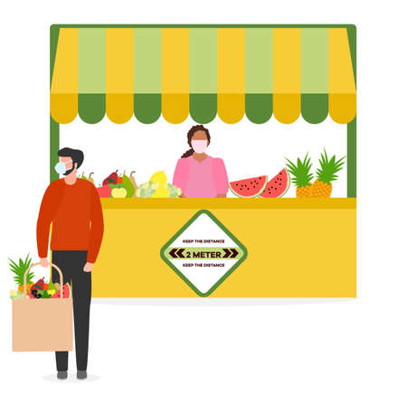 Vector illustration People Social distancing Market Selling vegetables, fruits, berries keep social distance New normal concept and physical distancing New behavior after COVID-19 coronavirus pandemic 일러스트