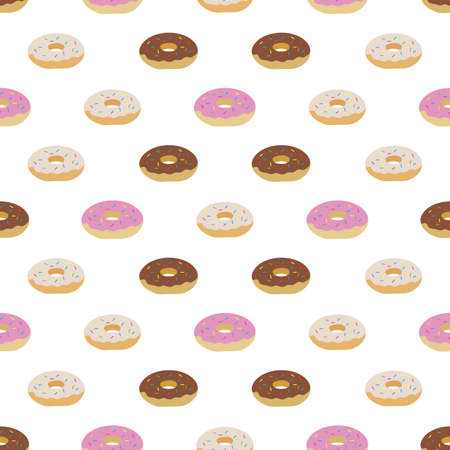 Vector seamless pattern Illustration tasty doughnuts. Delicious sweet donuts with glaze and sprinkles Food concept for menu design, cafe decoration, delivery box Dessert, pastry Design for wrap, print
