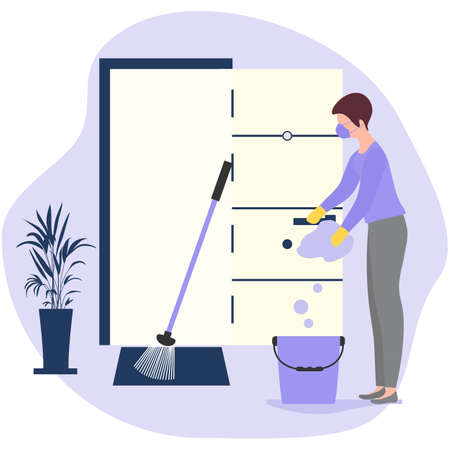 Vector illustration Cleaning service disinfects hotel room from coronavirus, germs. Woman cleans room. Disinfection Washing. Housework. Infection prevention concept. Design for app, web, banner, print