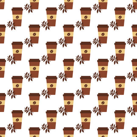 Vector coffee seamless pattern Illustration Repeated background with paper coffee cups. Morning. Take away. Concept for cafe, bistro, bars menu card. Food and drink design for wrapping, textile, print 일러스트
