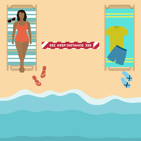 Vector illustration Opening up beaches after COVID-19 quarantine, coronavirus pandemic. People lie on beach towels at distance Social distancing. Summer Reducing risk of infection, prevention measures