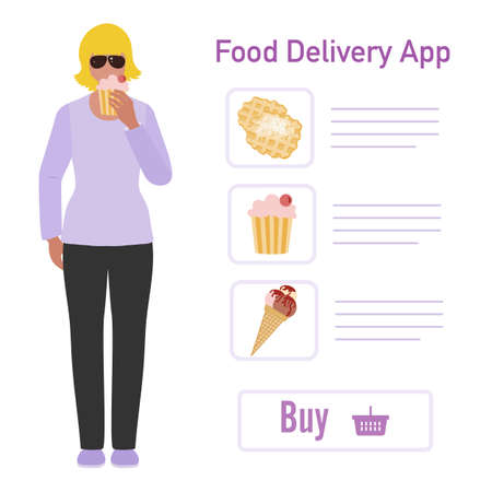 Vector illustration Online food, drink ordering app. Safe delivery. Fast courier service. Take away lunch home delivered. Menu mock up. E-commerce concept. Design for app, webpage, banner, print Stockfoto - 152415723