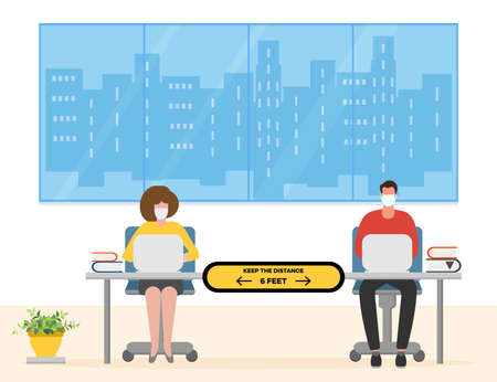 Vector illustration with people working at the office. Social distancing. New normal concept and physical distancing. New behavior after COVID-19 coronavirus pandemic. Keep the distance. Warning sign