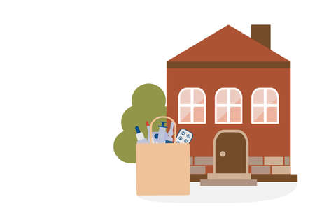 Vector illustration Contactless delivery. Medicines bag left at entrance to the house. Coronavirus COVID-19 Quarantine Order Transfer. Virus 2019-nCoV protection, infection prevention Control Epidemic Stock Illustratie