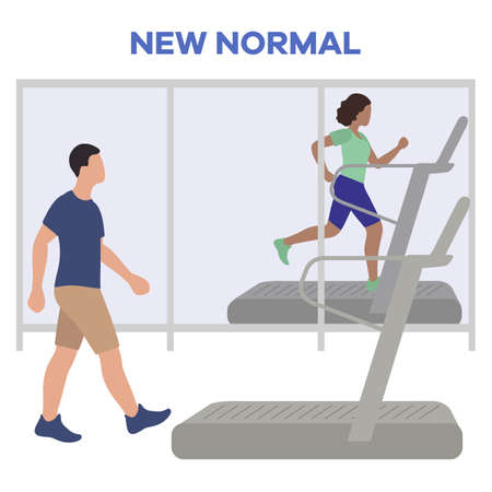 Vector illustration Reopening of fitness center, sports clubs after coronavirus quarantine. People doing fitness on treadmills Keep social distance COVID free New normal Stay apart Physical distancing