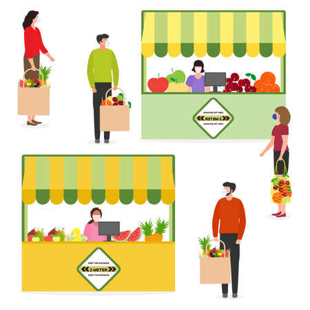 Vector illustration People Social distancing Market Selling vegetables, fruits, berries keep social distance New normal concept and physical distancing New behavior after COVID-19 coronavirus pandemic Stock Illustratie