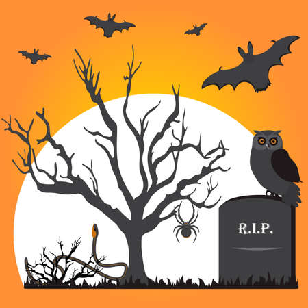 Halloween Party Vector illustration Full moon, tree, bat, owl, grave, snake, spider. Festive background. Design for party card, print