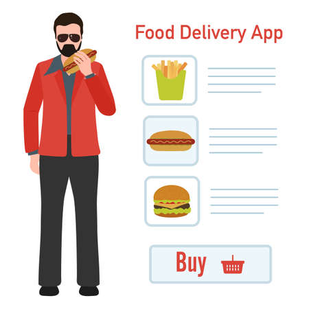 Vector illustration Online food, drink ordering app. Safe delivery. Fast courier service. Take away lunch home delivered. Menu mock up. E-commerce concept. Design for app, webpage, banner, print Stock Illustratie