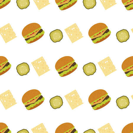 Vector seamless pattern Illustration burger. Street lunch American Takeaway Fast food. Delicious sandwich. Concept for cafe, bistro, burgers restaurant menu card. Junk food. Design for wrapping, print