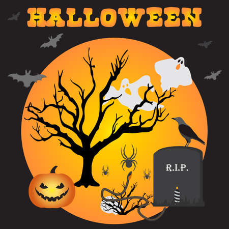 Halloween Party Vector illustration Full moon, bat, tree, grave, candle, raven, skull, snake, spiders, Jack O'Lantern, ghosts. Inscription Halloween. Festive background. Design for party card, print