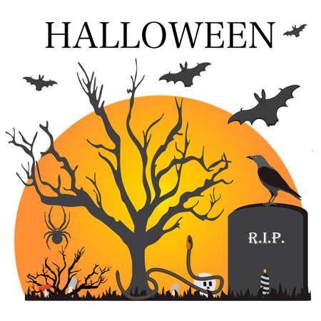 Halloween Party Vector illustration Full moon, bat, tree, raven, candle, grave, spider, mushrooms, snake, skull. Inscription Halloween. Festive background.
