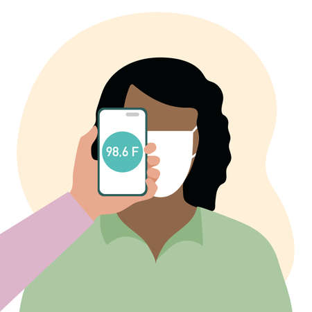 Vector illustration Phone placed on forehead of person remotely measures temperature. New technology. New normal. Measurement of human body temperature at a distance. Stock Illustratie