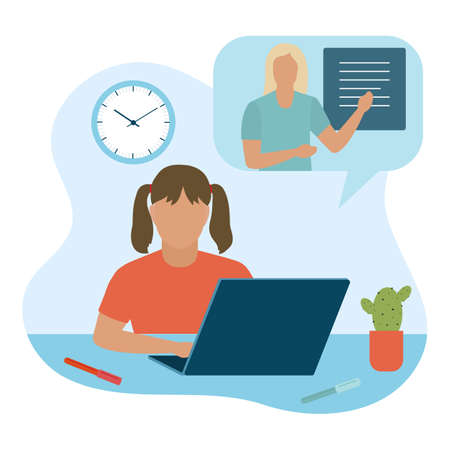 Vector illustration Distance education. Distance learning. Online education. Studying at home. Children studying remotely. E-learning concept. New normal. Stock Illustratie