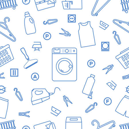 Vector seamless pattern Illustration Dry cleaning, laundry, housekeeping services. Home appliance. Garment washing, launderette. Laundromat service equipment. Stock Illustratie