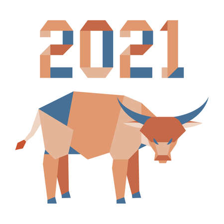 Happy new year Vector illustration with origami 2021 year numbers and bull. Bull annual animal zodiac sign, symbol of 2021 on the Chinese calendar. Year of the ox.