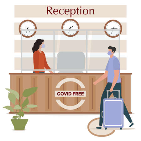 Vector illustration Reopening of Hotel hostel guesthouse lobby after COVID-19 quarantine. Person with suitcase stands at hotel reception, receptionist makes check in hotel room.