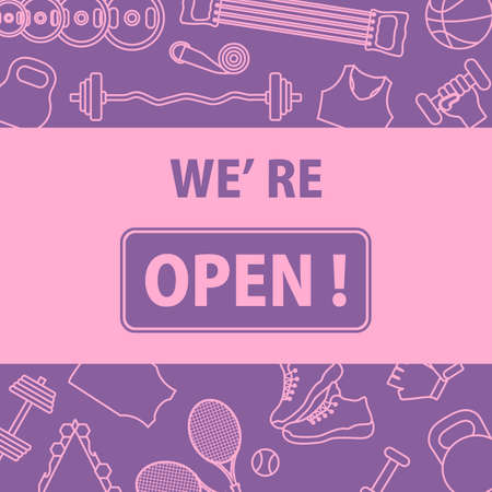 New normal. COVID free. Sign We're open. Restart business in normal operation after virus lockdown.