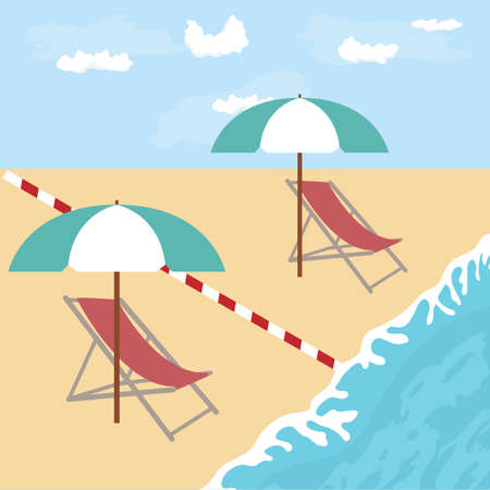 Vector illustration Opening up beaches after COVID-19 quarantine, coronavirus pandemic. Umbrellas, places to relax at distance Social distancing.