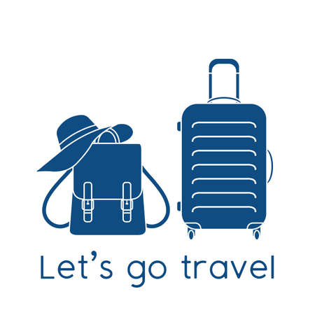 Vector illustration Suitcase, sun hat, backpack isolated on white background. Let's go travel. Concept for travel agency. Stock Illustratie