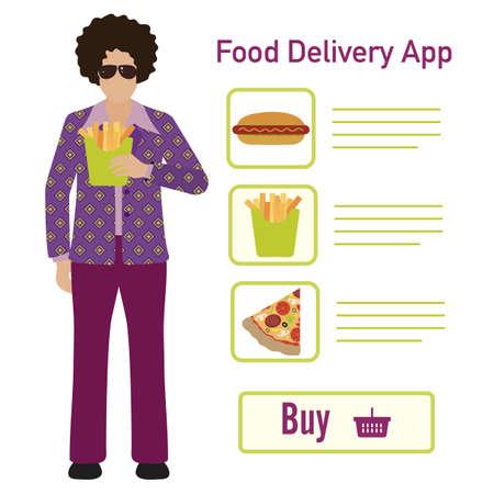 Vector illustration Online food, drink ordering app. Safe delivery. Fast courier service. Take away lunch home delivered. Menu mock up. E-commerce concept.